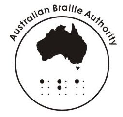 ABA logo - circle containing a map of Australia and the braille dots ABA.